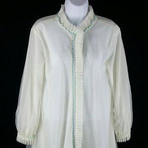 Vintage 60s white nylon chiffon short robe